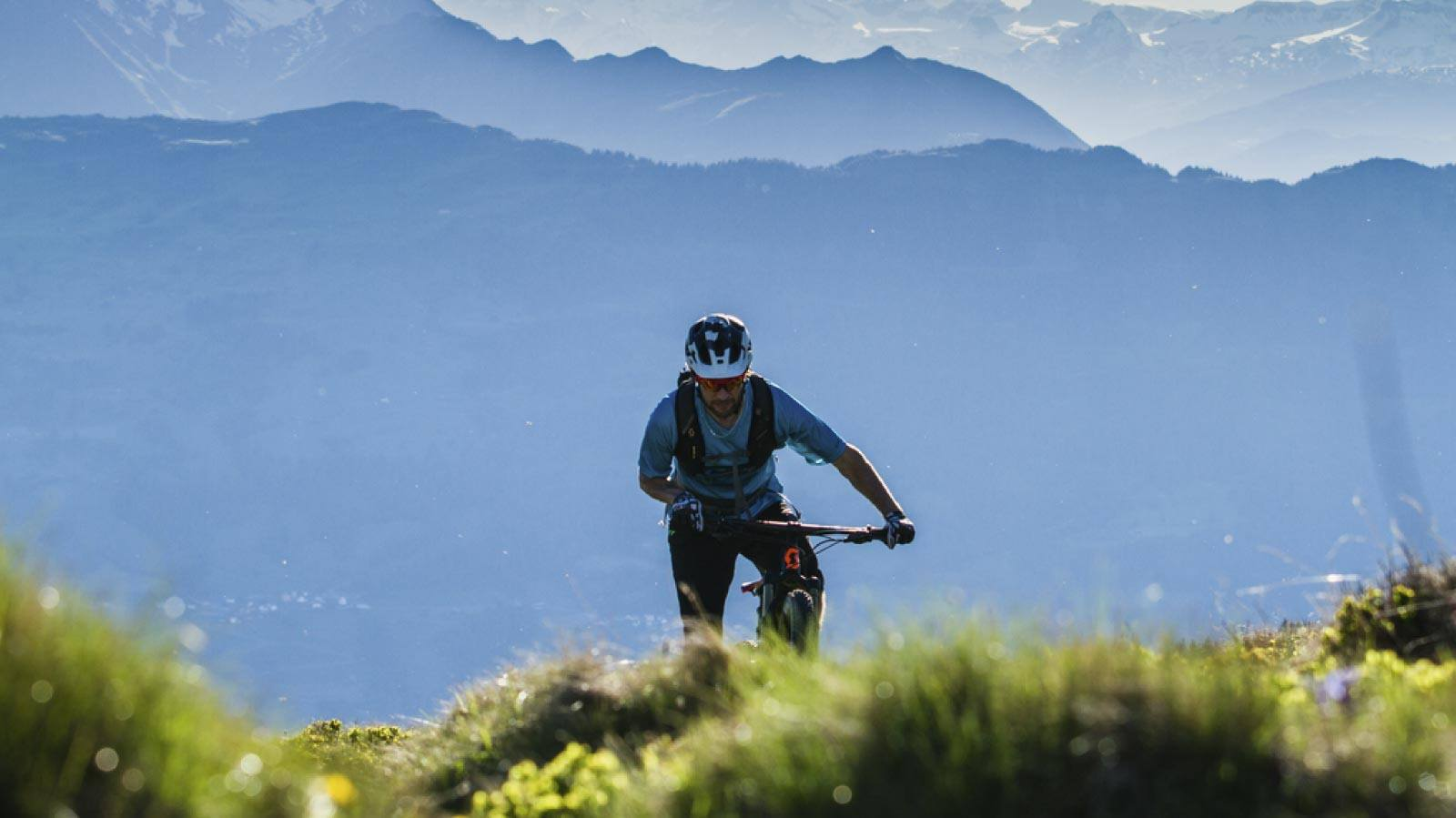 Mountain biker in the mountains